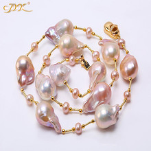 JYX  Baroque Freshwater Cultured Pearl Necklace Party Jewery for Women Gift  AAA 25 Inches 16 inches 30 40mm aaa natural lavender fireball baroque pearl loose strand