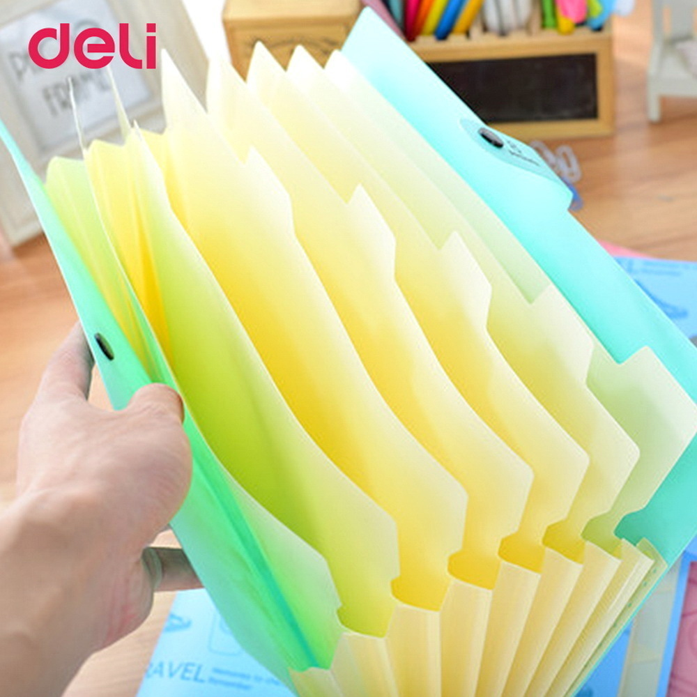 Cute stationery File Folder A4 8 pocket waterproof Expanding Wallet Convenient Manage Holder Document expanding wallet simple plastic 5 section index band folder document file storage organizer filling stationery a4 size expanding wallet 4 colors