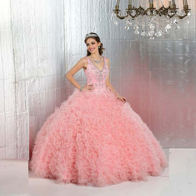 78f6fcedb81 High Quality Sweet 15 Quinceanera Gown v neck Crystal Beading Hot Pink  Organza Ball Gown Quinceanera