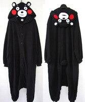 Black Bear Kumamon Onesie Adult Unisex Cosplay Costume Flannel Pajamas Sleepwear For Women Men Free Shipping