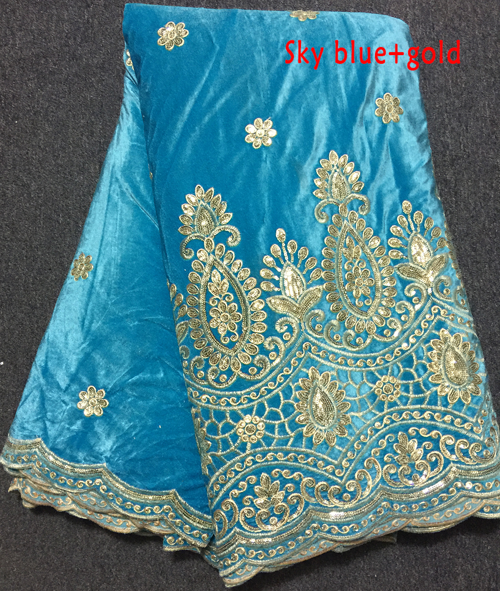 Fashion classic design wholesale embroidered velvet lace fabric Sky blue+gold high quality African velvet lace for women dress