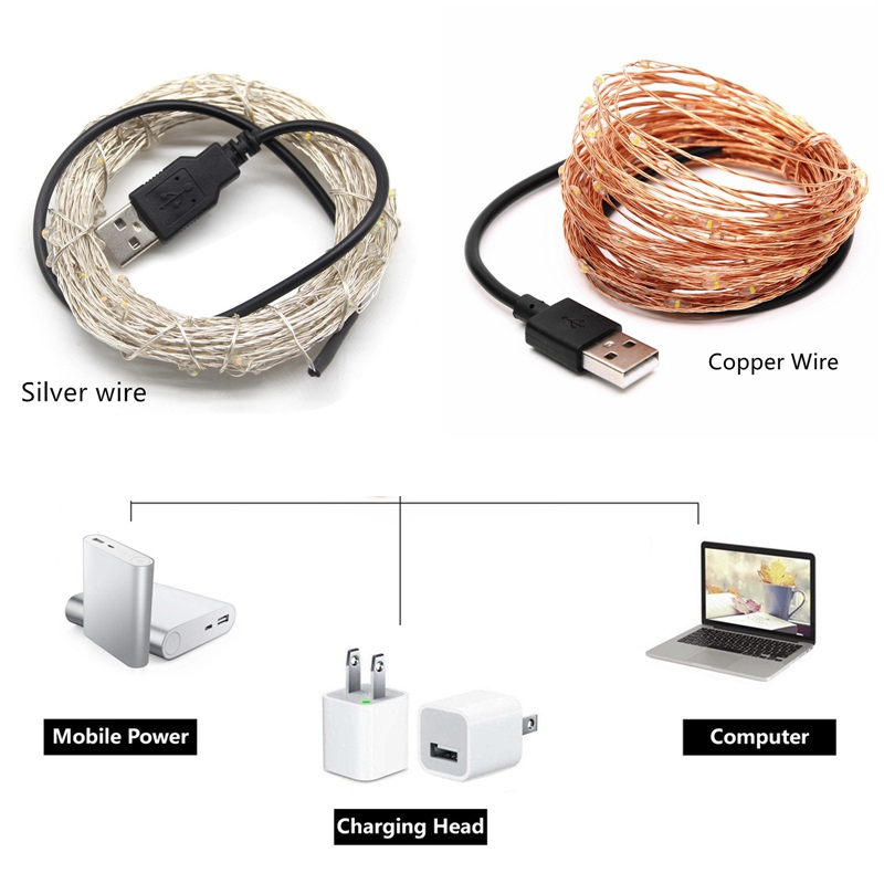 LED String lamp 5V 2M 5M 10M 20M USB LED Strip Fairy Silver Copper Wire Indoor Outdoor lights Decorative Wedding Party Christmas 5m 20led 10m 35led big ball string light indoor outdoor decorative fairy lighting for christmas trees patio party