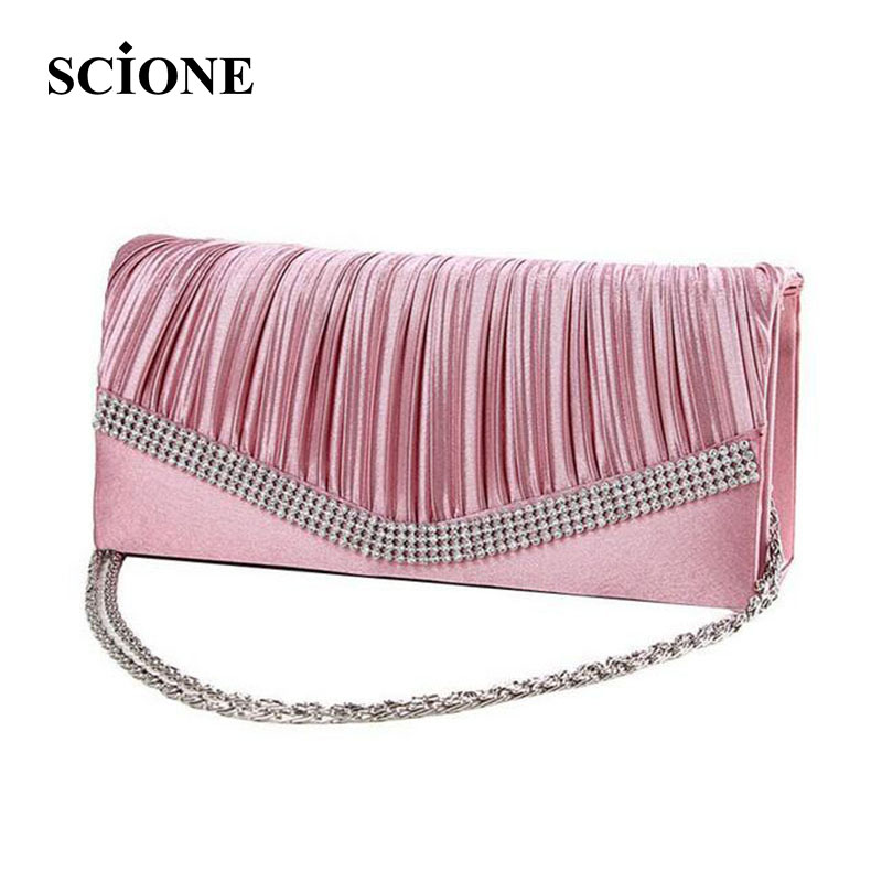 2017 Women Satin Rhinestone Evening Clutch Bags Ladies Day Clutches Purses Chain Handbags Bridal Wedding Party Bolsas Mujer 2t