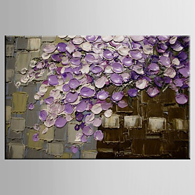 Peint à la main moderne abstraite peinture florale fleur pourpre peinture à l'huile sur toile décor à la maison mur Art photos pour salon