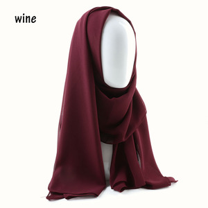 Image 4 - Een Stuk Vrouwen Solid Plain Bubble Chiffon Sjaal Wraps Zachte Lange Islam Foulard Aokong Sjaals Moslim Georgette Sjaals Hijaabs