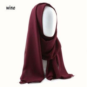 Image 4 - Une pièce femmes solide plaine bulle mousseline de soie écharpe enveloppes doux long islam foulard aokong châles musulman georgette foulards hijabs