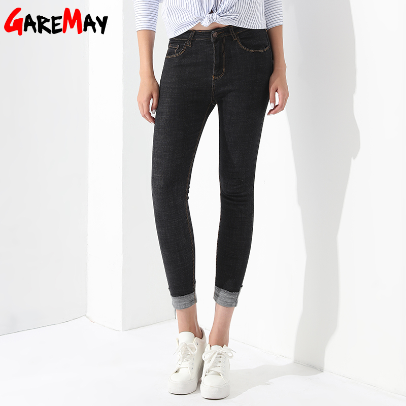 black woman jeans cuffs Denim Trousers Pantalones Vaqueros Mujer Middle-Waisted Casual Slim Stretch Jeans Pants Ladies GAREMAY womens ripped jeans with embroidery summer 2017 ladies straight cotton denim casual pants pantalones vaqueros mujer garemay 2610