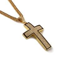 Большой Bling Крест 3D Хип-Хоп Iced Out Религиозных Кулон Франко Цепочку 35.4