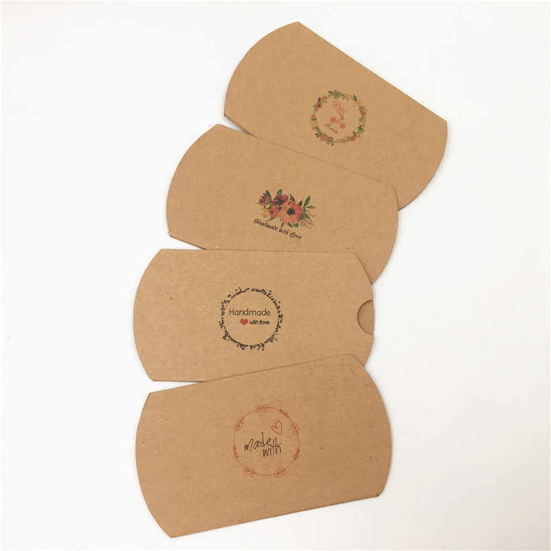 100 cái/lốc Lãng Mạn Phong Cách Xe Đạp Tim Hoa Pattern Kraft Paper Giấy Gối Hộp Cho Quà Tặng Sinh Nhật Gói Gối Hộp Bán Buôn