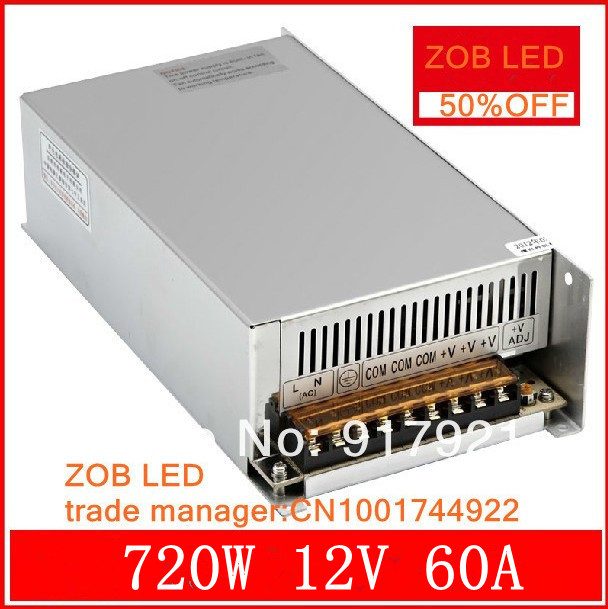 720W 12V 60A LED Switching Power Supply,12V 60A power supply 12V Output,85-265AC input,FREE SHIPPING freeshipoing 360w led switching power supply 85 265ac input 12v 30a for led strip light power suply ce rosh 12 output