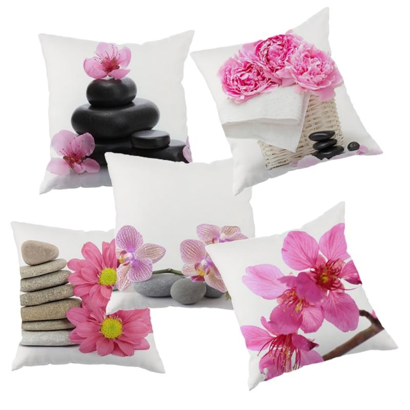 Amerika Stil orkidétryckt kuddeöverdrag polyester pudskudde kudde - Hemtextil