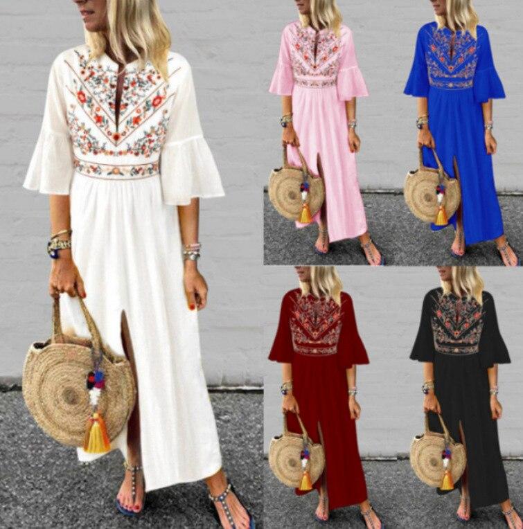 ZODRQ Women Dress,Plus Size Ladies Vintage Patchwork Casual Loose Boho Long Plus Size Retro Maxi Dress