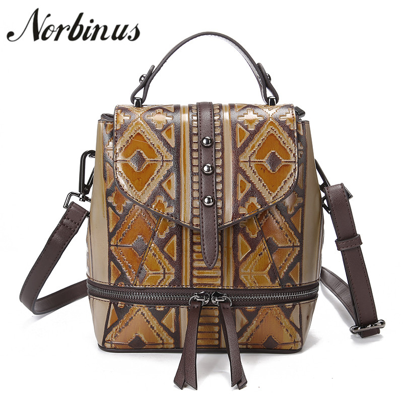 Norbinus Genuine Leather Women Backpacks Luxury Embossed Bagpack Female Designer Rucksack Small School Bags for Teenager