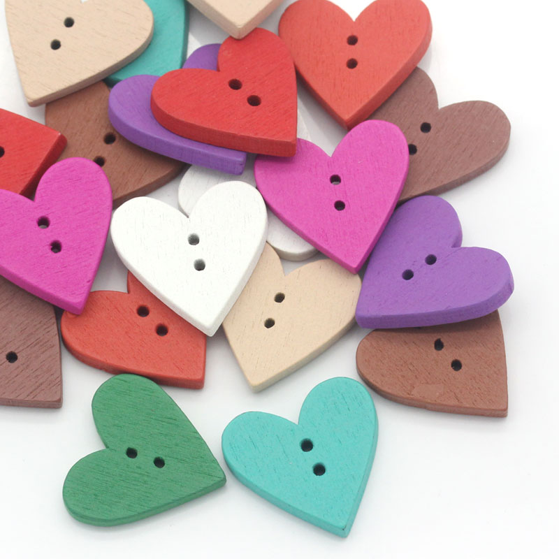 Urijk 100PCs Heart Buttons For Needlework Wooden children's Buttons For  Clothes Sewing Scrapbooking Accessories Mixed Color