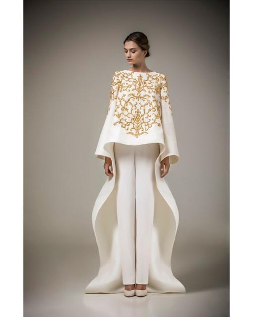 Dos Piezas Musulmán de Lujo Oro Blanco Bordado Árabe de Noche Largo Vestidos de Baile Vestido Del Partido Del traje celebrity robe de soirée