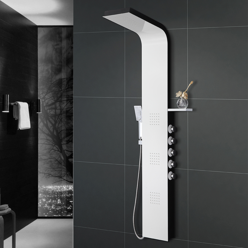 Brushed Nickle Shower Panel Wall Mounted 4 Function Rainfall Massage Jets  Handle Shower Shower Faucet
