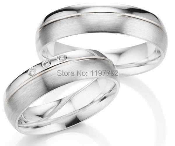 Custom Made Silver Color Titanium Engagement Wedding Rings