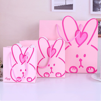40x Baby's favorite cartoon rabbit Candy Gift Hand-held Paper Bag Children's Toy Clothing and Clothing Packaging Bag,Two colors
