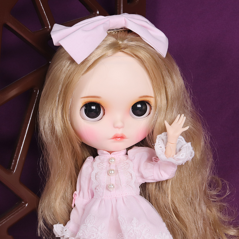 Blyth Doll 1 6 Joint Body hand painted matte face white skin Blonde pink cute suit
