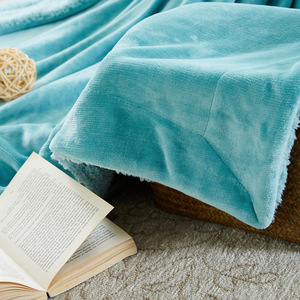 Image 4 - CAMMITEVER Home Textile Flannel Lamb Cashmere Double Thick Blanket With Sleeve On The Bed Solid Fluffy Linen Bedspread