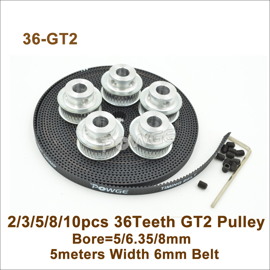 POWGE 36 зубьев 2GT зубчатый ременный шкив Bore5/6,35/8 мм + 5 метров W = 6 мм GT2 синхронный ремень 36 T 36 зубы GT2 шкив 3D части принтера
