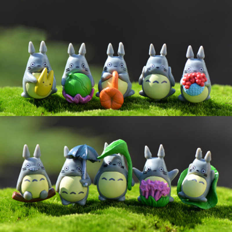 ZOCDOU 10 Pieces Tonari No Totoro Japan Anime Cartoon Cat Small Pasture Statue Figurine Crafts Ornament Miniatures Home Decor
