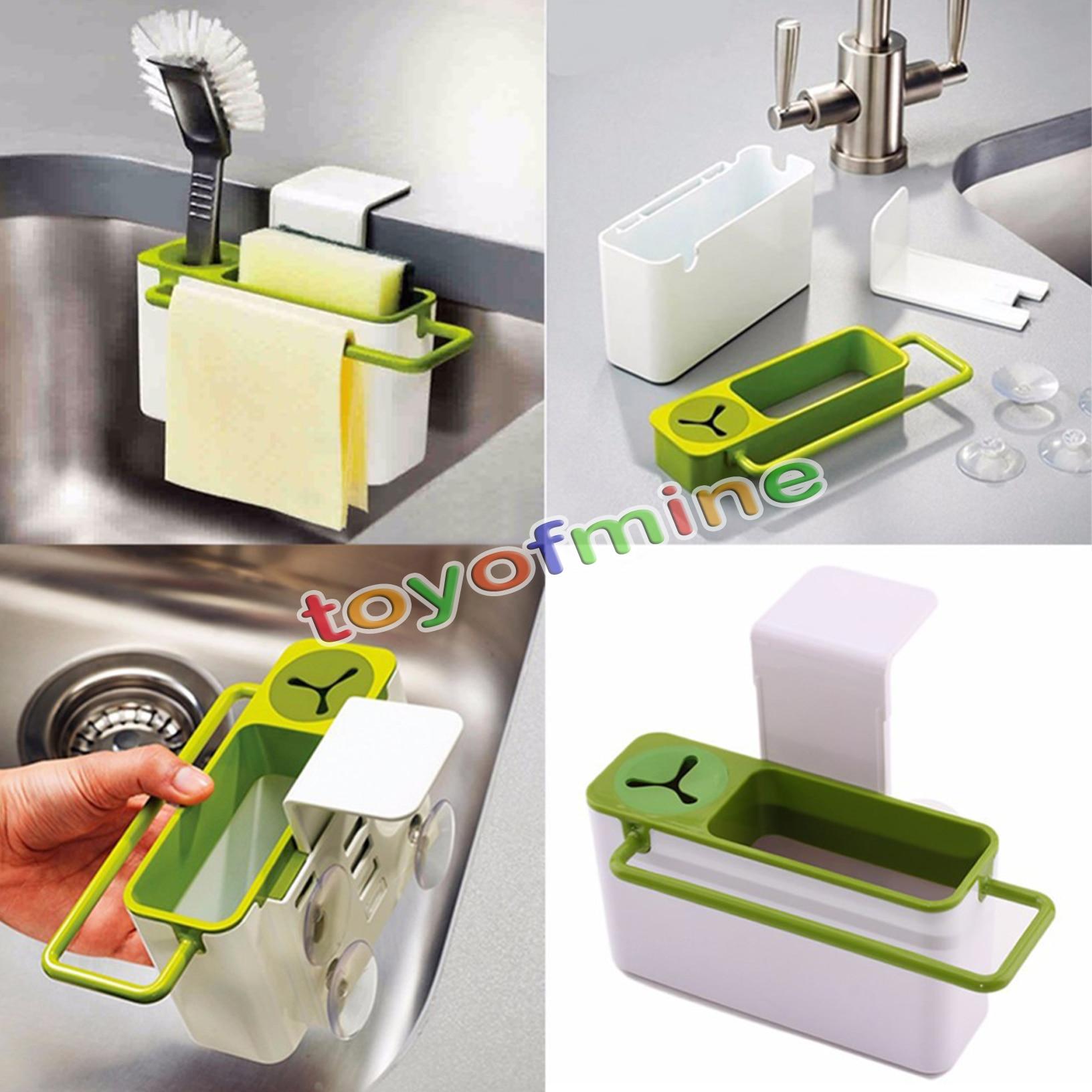 Sink Shelf Soap Sponge Drain Rack Bathroom Holder Kitchen Storage Suction Cup H