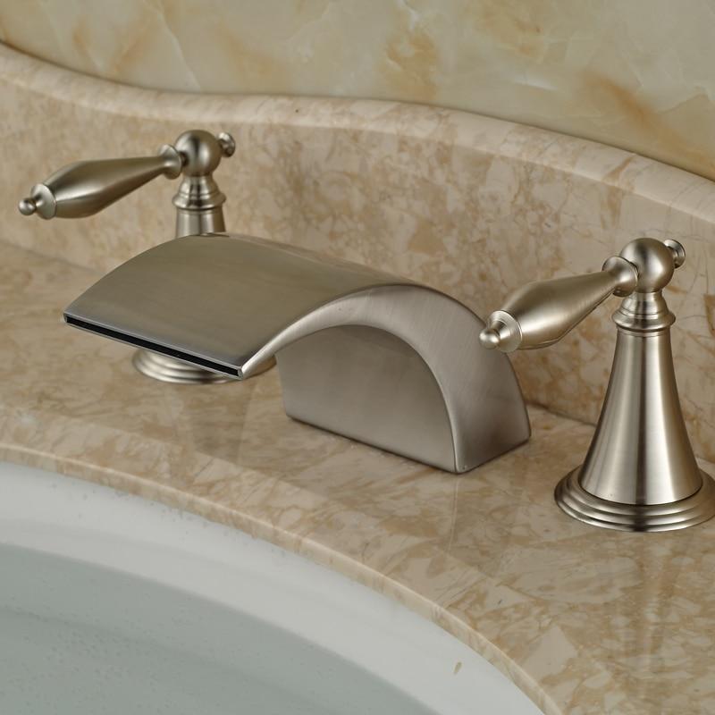 ФОТО Classic Deck Mount Widespread 3pcs Bath Tub Sink Faucet Bathroom Dual Handle Basin Mixer Taps
