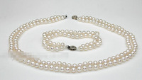 Free shipping .657 7mm aaa grade white akoya pearl jewelry set double strand necklace bracelet
