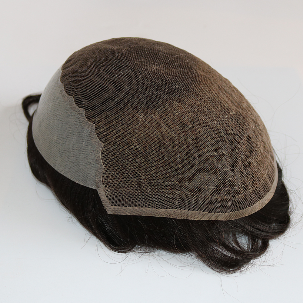 Eversilky indiano cabelo humano remy sistema de substituição para homens peruca dos homens hairpieces q6 base laço francês com pele vária cor