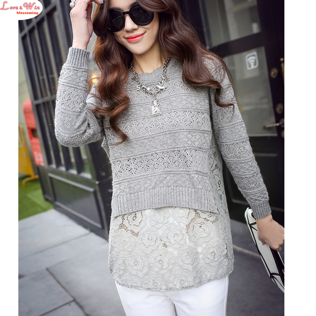 Back Pleated Lace Hollow Out Knitting Sweater Shirt Lady New Fashion Brand Casual Lace Pullovers
