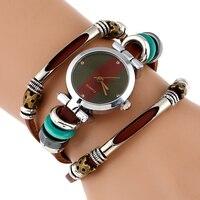NEW Genuine Leather Watch Women Triple Bracelet Wristwatch Italian Style Green Coffe Stripes Fashion Reloj Para