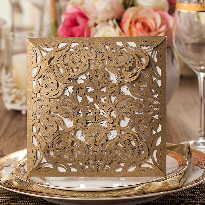 100 Pcs Vintage Laser Cutting Invitation Mariage Hollow Out Wedding Invitation Card With Envelope Custom Printing Seal