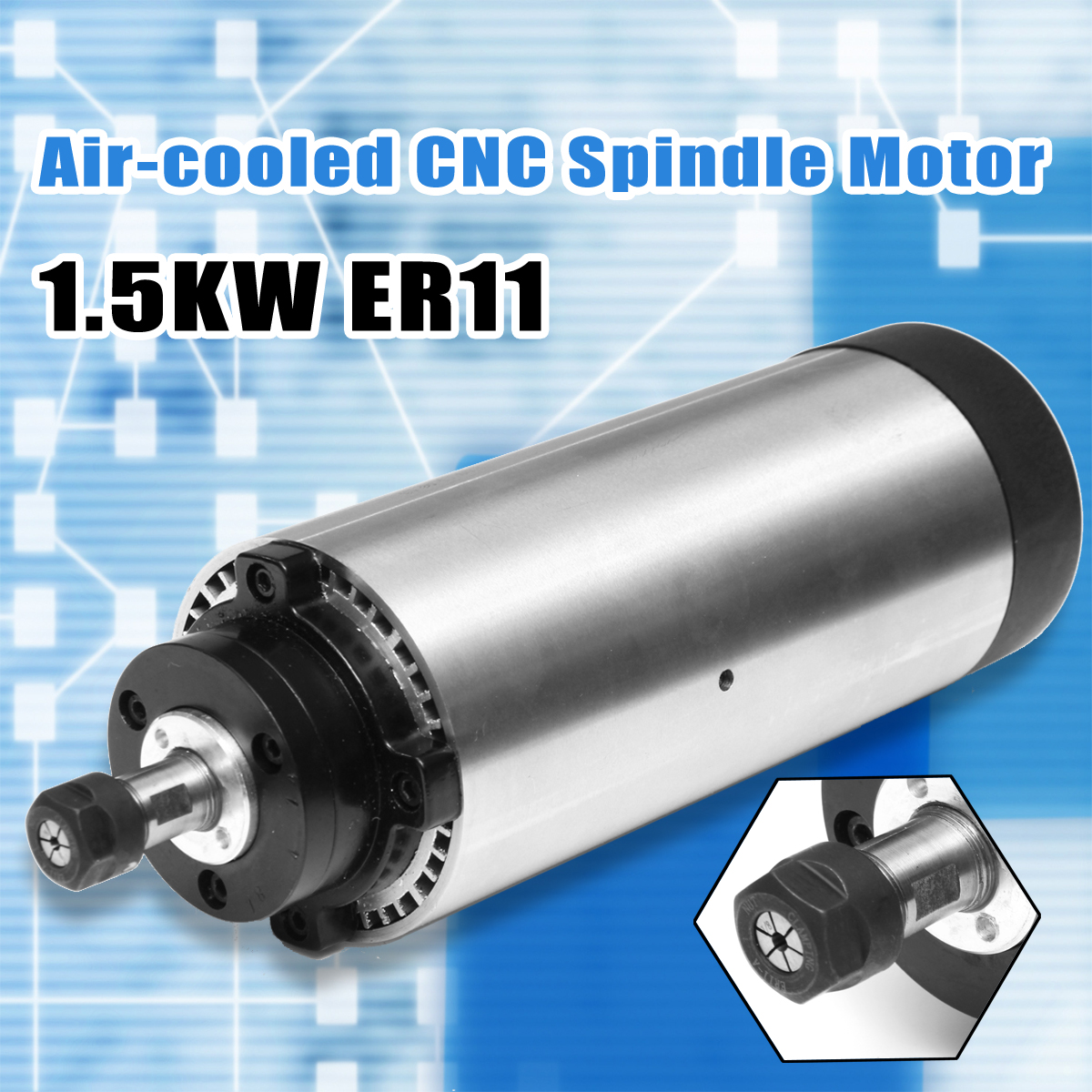1.5kw Air Cooled CNC Spindle Motor ER11 24000rpm 400Hz 4 bearings CNC Milling Machine Tool Spindle AC 220V hj brand 1 5kw 80mm er11 cnc spindle 24000rpm machine spindle motor water colling engraving milling spindle 220v ac spindle