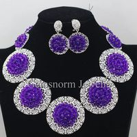 Purple Chunky Bib Beads Necklace Earrings Set African Indian Costume Women Party Jewelry Set Brides Gift