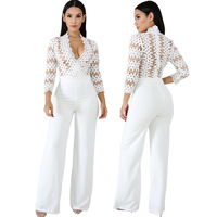 Lace Crochet Patchwork Loose Jumpsuit Solid White Women Sexy V Neck 3/4 Sleeve High Waist Skinny Back Zipper Wide Leg Long Pants