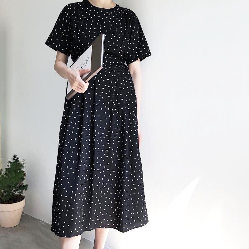 Vintage Summer Long shirt Dress Short Sleeve woman dot printed Lady Dress High Quality Casual O-Neck Fashion maxi Dresses loose