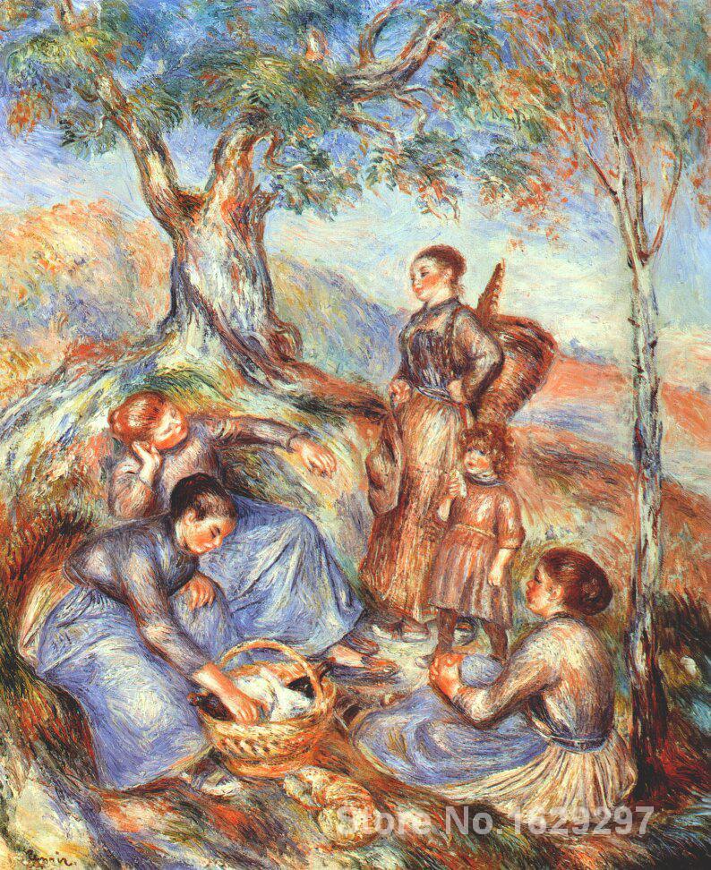 266a99bb59 Reproduções de arte da lona Os vindimadores no almoço Pierre Auguste Renoir  pintura pintados à Mão-de Alta qualidade