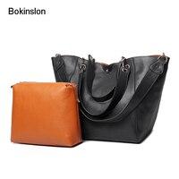 Bokinslon Women Big Handbags Bags Fashion PU Leather Woman Shoulder Bags Simple Retro Female Large Capacity Bags