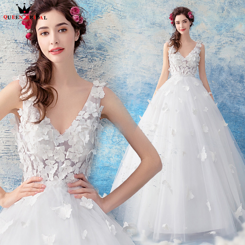 QUEEN BRIDAL Evening Dresses 2018 New Design Ball Gown Tulle Flowers ...