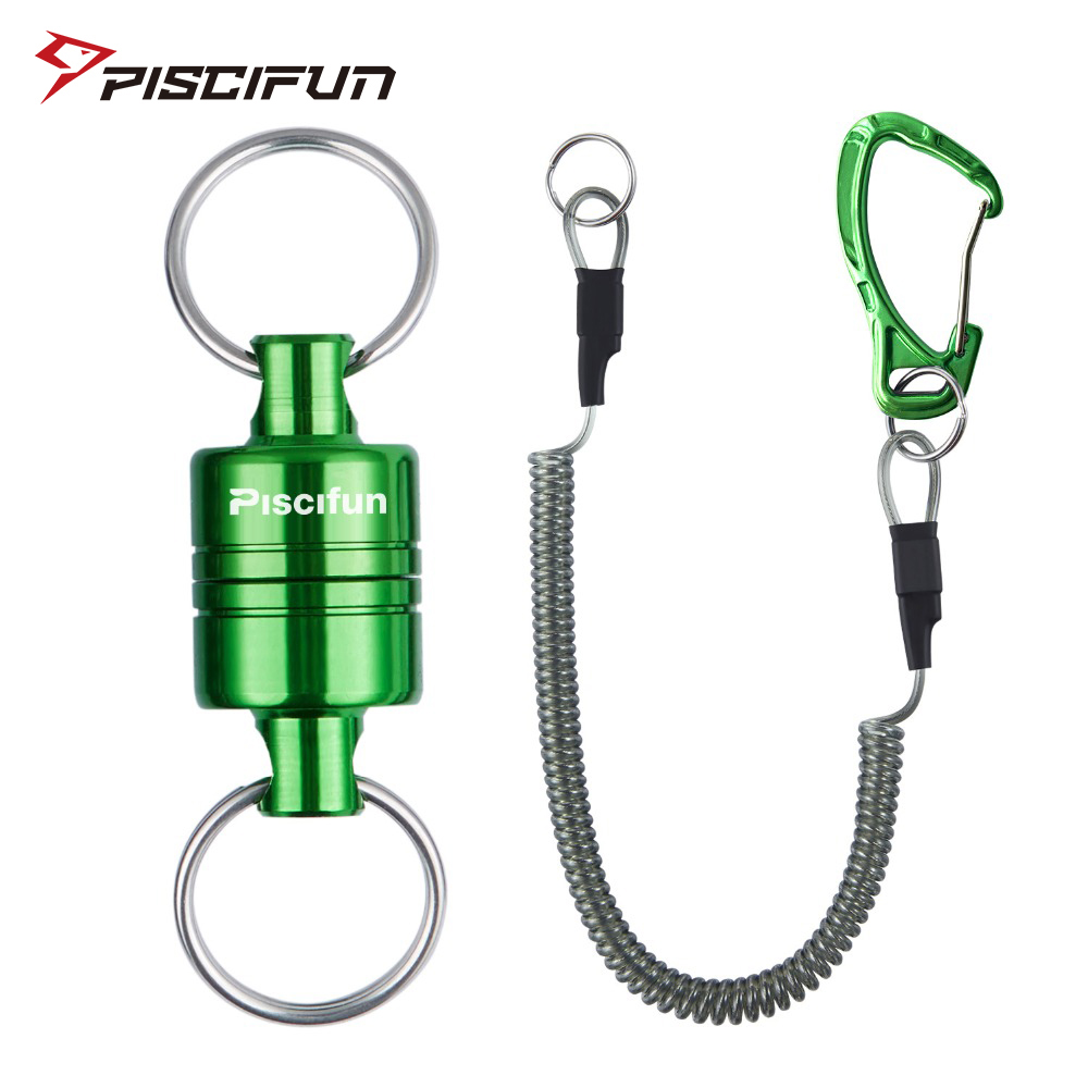 Piscifun Magnetic Net Release Fly Fishing Aluminum Strong Train Net Holder 7.7LB Lanyard Cable Pull 3.5KG Green/Silver/Black