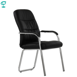 95458 Barneo K-16 silla de oficina para visitante Barneo negro eco-cuero cromo piernas silla popular modelo envío gratis en Rusia