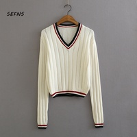SEFNS womens sweaters 2018 winter Casual Computer Knitted V Neck Full Short Pullovers Vintage Striped white crop sweater