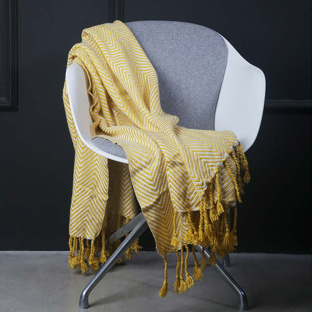 Good ADREAM New Acrylic Blanket, Winter Woven Scarf, Yellow Sofa Bed Square  Blankets, Tassel