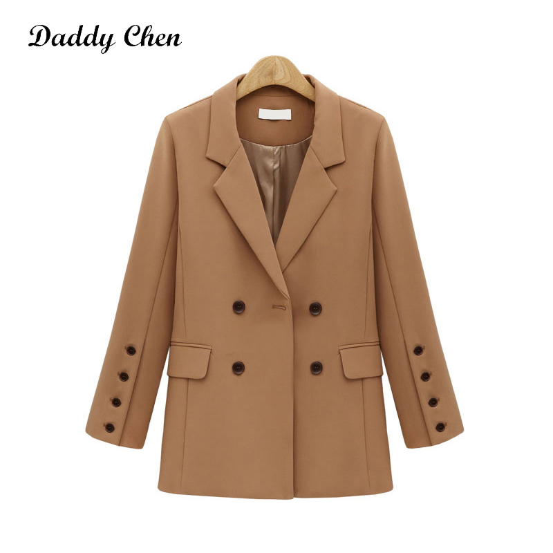 Daddy Chen Spring Blazer Women Elegant Fashion Women Double Breasted Blazer Coat Turn Down Collar Cotton Blends Vadim Feminina