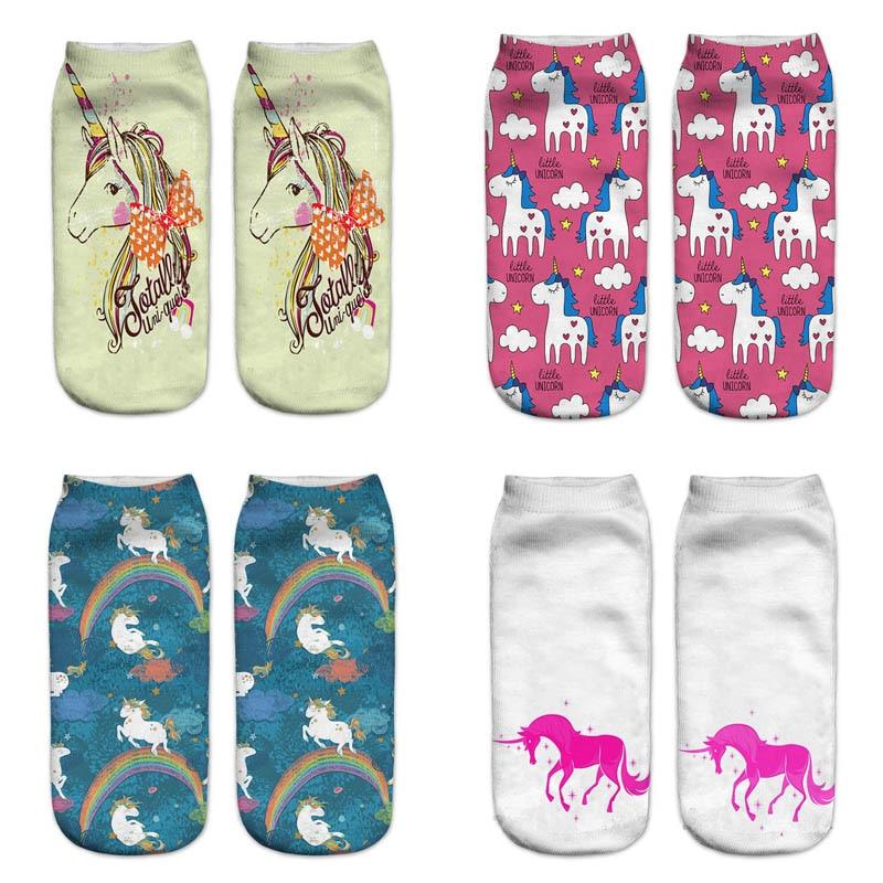 Hot Sale Harajuku 3D Print Unicorn Women Men Sock 13 Patterns Women Kawaii Cute Casual Popular Ankle Women Socks
