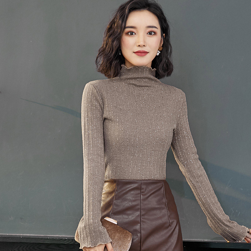 QoerliN M 3XL Skinny Slim Turtleneck Knitting Basic Top Shiny Lurex Autumn Winter Sweater Women Long Sleeve Pullover Plus Size in Pullovers from Women 39 s Clothing