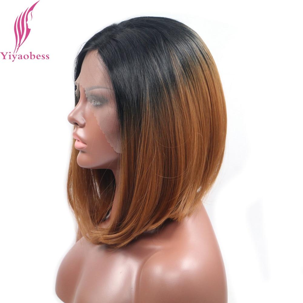 Yiyaobess 14 tums Värmebeständig Kort Bob Paryk För Kvinnor Rak - Syntetiskt hår - Foto 3
