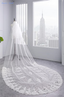 Sapphire Bridal Long Bridal Veils Lace 2 Tiers Cathedral veils With Blusher