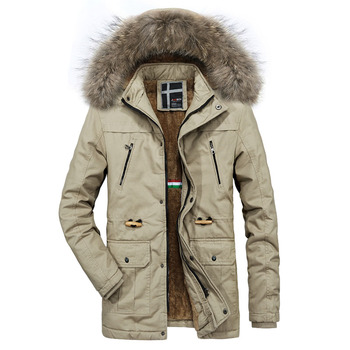 2018 Winter Coat Men New Style Warm Men's Jacket Parkas Thick Fur Collar Cotton-Padded Jackets Comfortable Hooded Parka Hombre